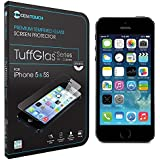 Cenitouch� - Premium Quality Original Tempered-Glass Screen Protector for iPhone 5S / 5C / 5 [TuffGlas� Technology] (0.3mm) - 9H Hardness Crystal Clear Glass with Rounded Edges - Includes full kit & Instructions