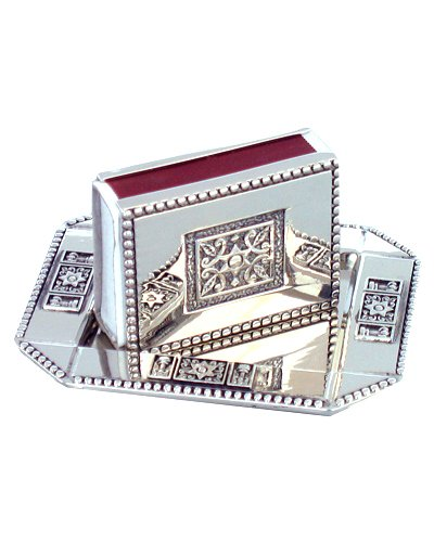 Judaica Shabbat Holiday Match Box Holder and Tray Engraved Magen David Symbols