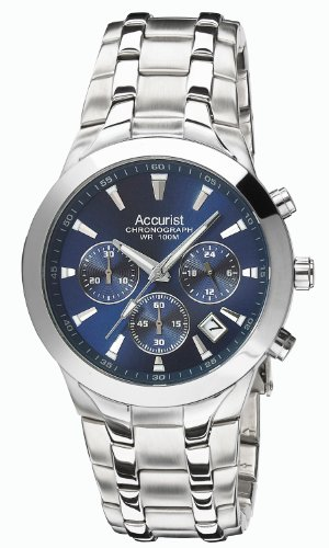 Accurist Men's Quartz Watch with Blue Dial Chronograph Display and Silver Stainless Steel Bracelet MB960N