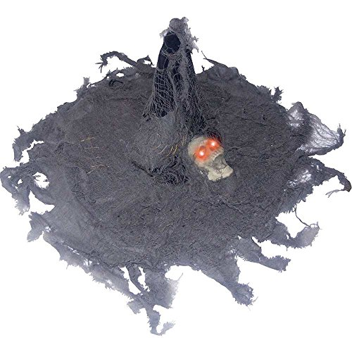 Tattered Witch Hat with Light-Up Skull