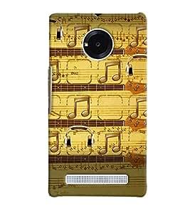 PrintVisa Music Notes 3D Hard Polycarbonate Designer Back Case Cover for Yu Yunique