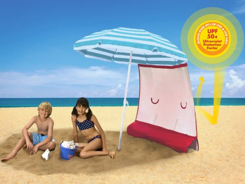 ezShade Sun Shield (Award Winning) - BLOCKS 99% UVA/UVB rays - DOUBLES shade, keeps you COOLER, and INSTANTLY ATTACHES to ANY nylon/poly umbrella - (only 9 OZ)