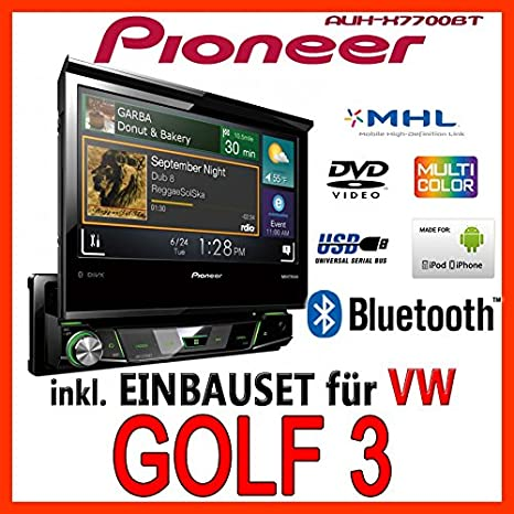 VW golf 3/vento-pioneer aVH-x7700BT 1DIN-kit de montage d'autoradio multimédia
