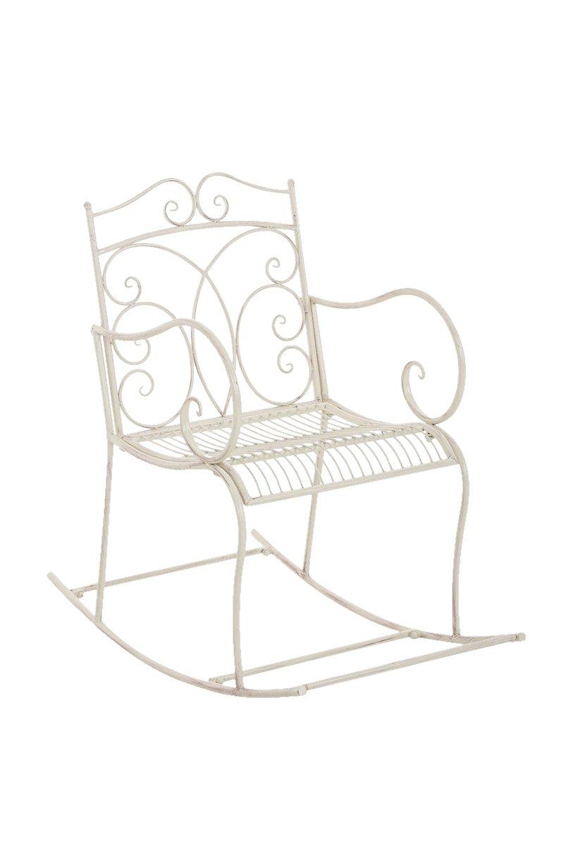 CLP Metall-Schaukelstuhl EDITH aus Eisen, bis zu 6 Farben wählbar, nostalgisches Design, wunderschöne Verzierungen antik-creme