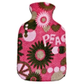 Warm Tradition Child/Travel Size PEACE & LOVE FLEECE Covered Hot Water Bottle - Bottle made in Germany, Cover made in USA