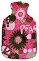 Warm Tradition PEACE & LOVE FLEECE CHILDREN'S Covered Hot Water Bottle - Bottle made in Germany, Cover made in USA