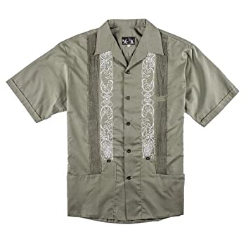 Y.A.Bera Men's Collared Shirt w/ Tails & Tentacles Artwork - Green