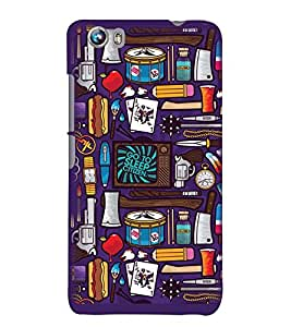 Printvisa Animated Miscellaneous Things Background Back Case Cover for Micromax Canvas Fire 4 A107
