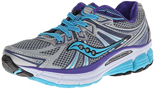 Saucony Women's Omni 13 Running Shoe,Silver/Blue/Purple,7 M US
