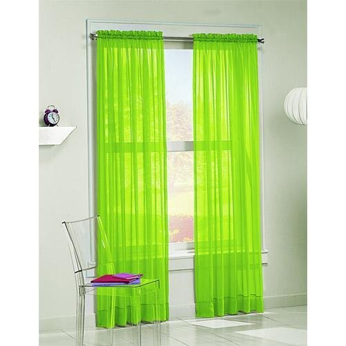 HLC.ME Voile Sheer Curtain Lime Green 216 in. Scarf at Sears.com