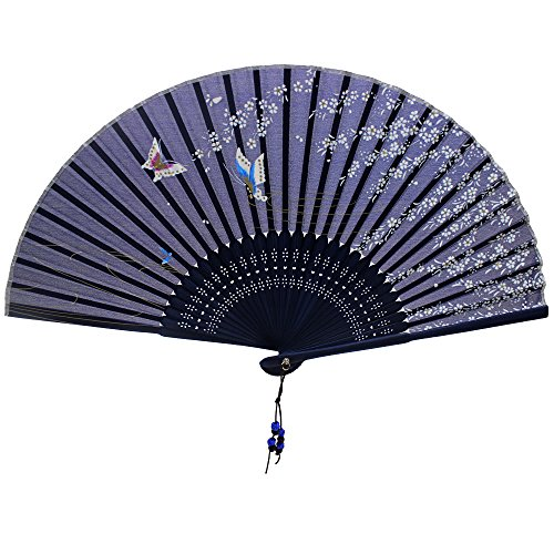 Nestarfactory Spun Silk Bamboo Collections the Japanese Style Designs Folding Hand Held Fans with Case (Fan-3)