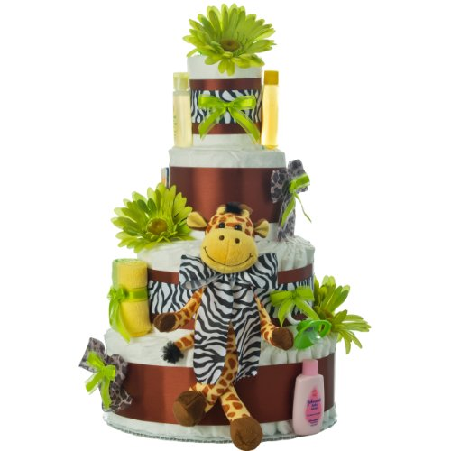 Lil' Baby Cakes 4 Tier Safari Diaper Cake