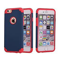 iPhone 6,6s Case, Vogue Shop 2in1 Hybrid Case Cover for iPhone6,6s (2015). Hard Cover, Printed Design Pc+ Silicone Hybrid High Impact Defender Case Combo Hard Soft Cases Covers (Navy+Red)