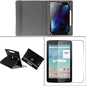 Gadget Decor (TM) PU LEATHER Rotating 360° Flip Case Cover With Stand For Datawind Droidsurfer 3XG+ - Black + Free Tempered Glass Toughened Glass Screen Protector
