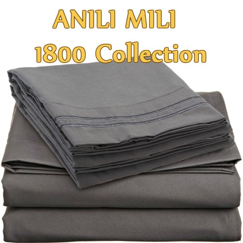 Discover Bargain ANILI MILI 1800 Collection Affordable 4 pc Bed Sheet Set - Queen Size, Gray