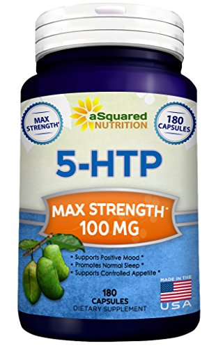 Pure 5-HTP (100mg, 180 Capsules) - Max Strength 5 HTP Supplement Pills, All Natural 5HTP to Improve Mood, Sleep & Relaxation, Increases Appetite Control to Aid Weight Loss, Stress Relief Vitamin