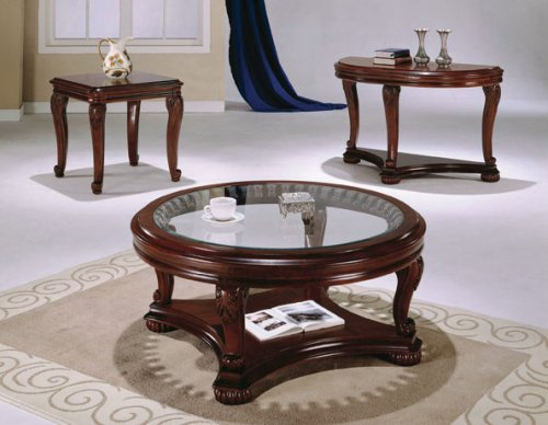 Cherry Finish Round Wood Carved COFFEE TABLE with Glass Top