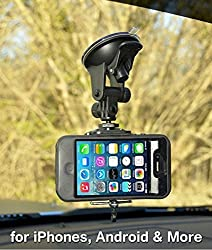 Smartphone - Cell Phone Windshield Car Mount Holder for iPhone 6S 6S Plus 6 6 Plus 5S 5C 5 4S 4 Samsung Galaxy S6 S5 S4 S3 S2 and more by Davoice