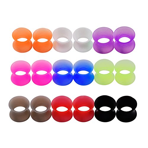 Longbeauty 9 Pair 16MM Thin Silicone Ear Skin Flexible Flesh Tunnel Expander Gauge Earlets 9 Colors at the same size (5 8 Gauge Ear Plugs compare prices)