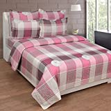 BeautifulHOMES Gorgeous Cotton Double Bedsheet With 2 Pillow Cover - Beige and Pink