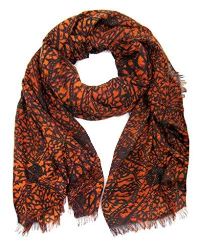accessu-Echarpe-Foulard-pour-Femme-Floral-Ornament-Print-orangeblackdark-red