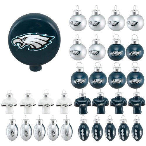Forever Collectibles Philadelphia Eagles Blown Glass Tree Top Ornaments - Pack of 31 at Amazon.com