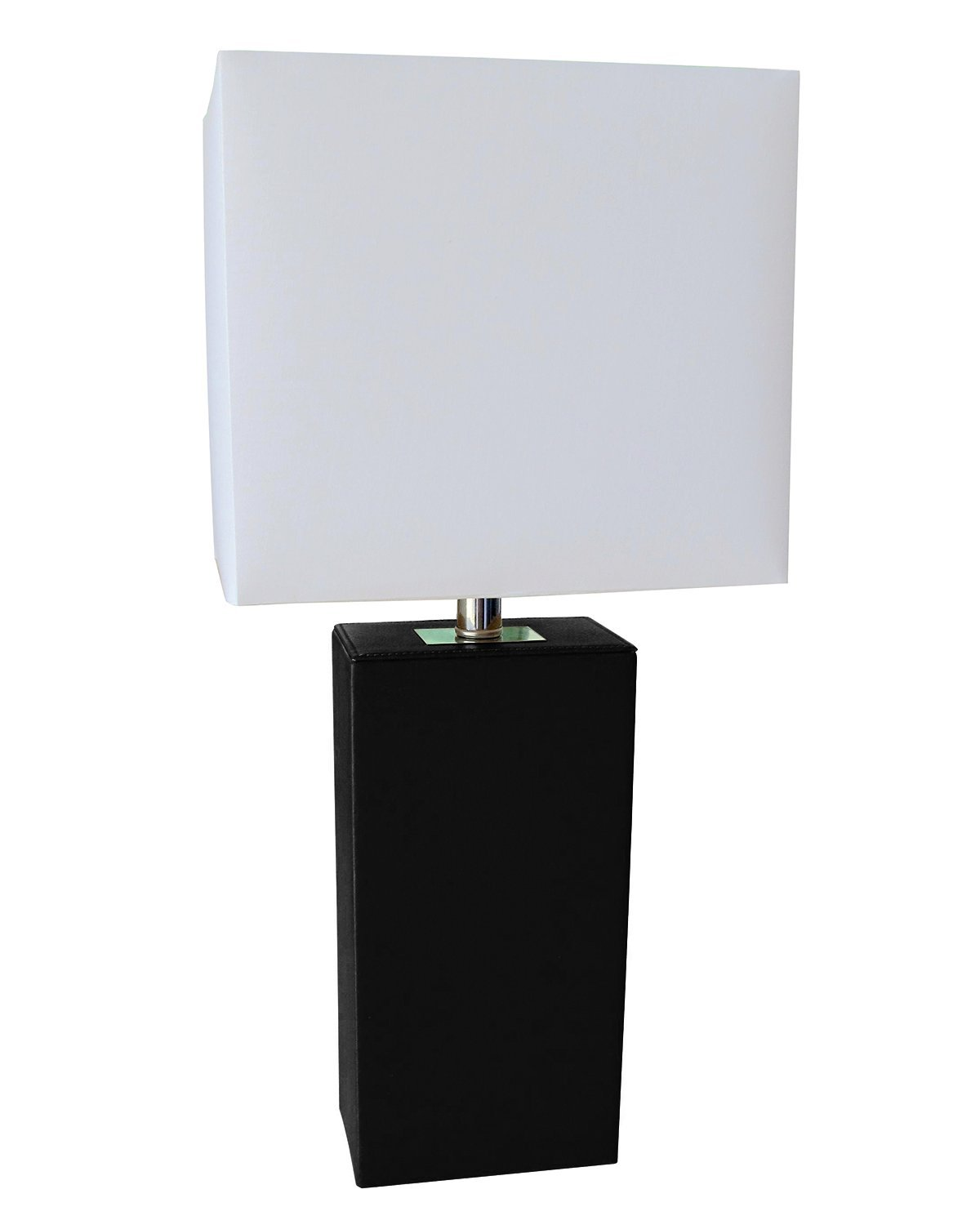 rectangular, modern table lamp, black leather base, white lampshade
