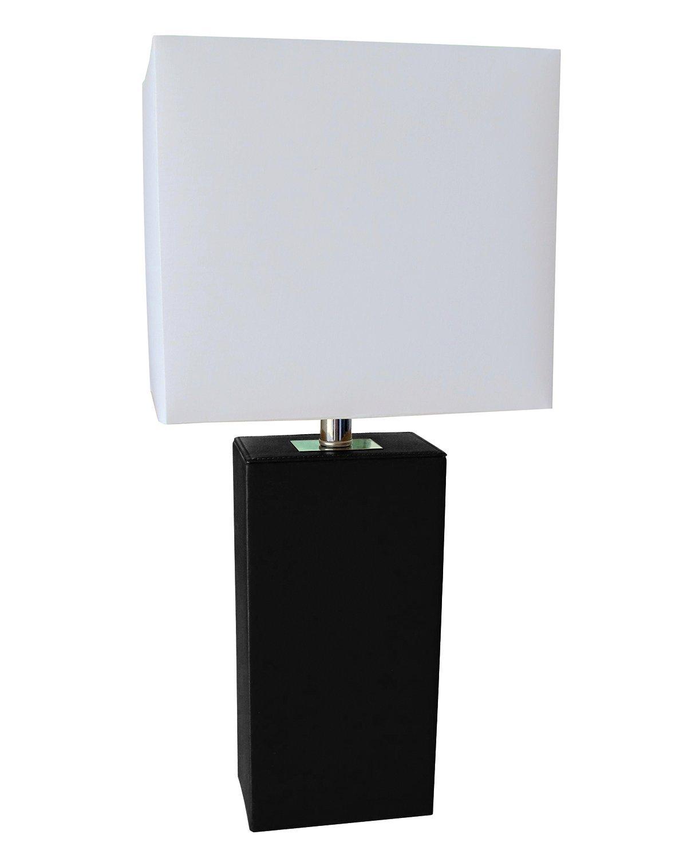 rectangular, modern table lamp, black leather base, white lampshade