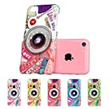 ESR Fancy Series Hard Clear Back Cover with Cute Patterns Snap on Case for iPhone 5c (Camera)