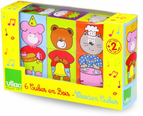 Vilac Stacking Toy Cubes, The Musician Animals - 1