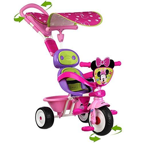 Dreirad Baby Driver V Minnie Maus mit Sonnenschutz, Flüsterräder, Lenkfunktion || Kinder Trike Kinderdreirad Schiebestange-Lenkung