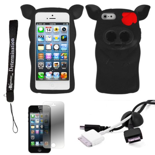 Black Pig Nose Durable Protective Silicone Skin With Earphone Wrap Access For Apple Iphone 5 Ios (6) Smart Phone + Black Cord Organizer + Apple Iphone 5 Screen Protector + An Ebigvalue Tm Determination Hand Strap