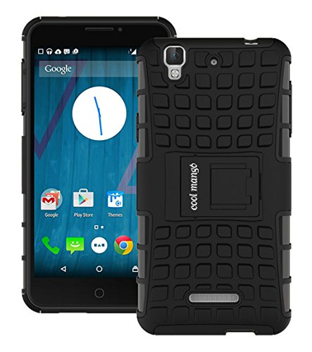 Micromax Yu Yureka Plus / Yureka Protective Back Cover / Case : Cool Mango Premium Dual Layer Armor Protection Case Cover with Kickstand for Micromax Yu Yureka - Black