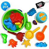 Beach Bucket Sandbox Toys Set, Small 16 Pcs with Convenient Zippered Bag Baby Pool Water Table & Kinetic Sand Molds. Best Tub Bath Toys for Toddlers, Outdoor Creativity for Kids + Funnel & Hand Tools