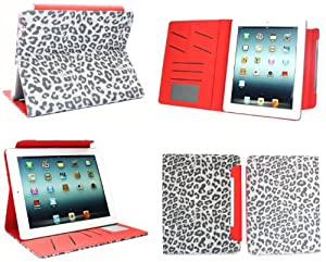Flash Superstore New Ipad 3 & Apple Ipad 2 Faux Suede Leopard Grey / Red Multifunctional / Multi Angle Wallet / Cover / Stand / Typing Case With Magnetic Sleep Wake Sensor (All versions Wi-Fi and Wi-Fi + 3G/4G - 16GB 32GB 64GB)