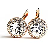 Rolicia Gold Silver Plated Austrian Zircon Crystal earrings/stud/drop Made with Swarovski Elements for Women and Girls as a Special Gift