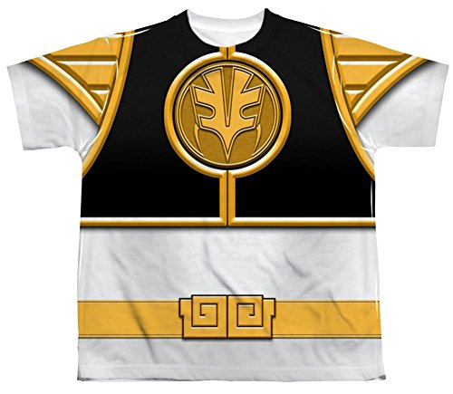 Mighty Morphin Power Rangers White Ranger Costume - All Over Youth Front T-Shirt