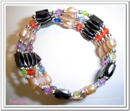 Magnetic Hematite pearl Bracelet/Necklace/Anklet Lariat – ranbow beads