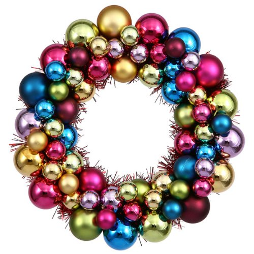 "12"" Jewel-Tone Multi-Color Shatterproof Christmas Ball Ornament Wreath"