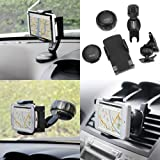 IKross 3 in 1 Compact Folding Car Dashboard Windshield Airvent Mount Holder for HTC One (M8), One Max, One Mini, One ; BlackBerry Z30, 9720, Q5, Q10, Z10, Google Nexus 4, Nokia Lumia 1520/ 1320/ 625/ 1020/ 925/ 720/ 620/ 520/ 510/ 920/ 820/ 810/ 710/ 900