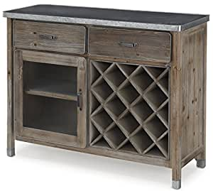 zinc top sideboard buffet natural wood. Black Bedroom Furniture Sets. Home Design Ideas