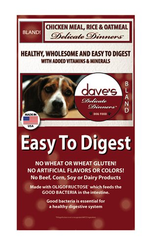 Dave's Natural Dry Dog Food, Delicate Dinners, Easy to Digest, Chicken Meal, Rice & Oatmeal, Wheat & Wheat Gluten Free (Bag 4lb)