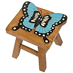 Butterfly Design Hand Carved Acacia Hardwood Decorative Short Stool
