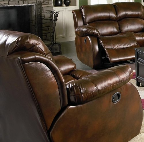 Recliner Sofa Chair Double Pillow Back Dark Brown Bonded Leather