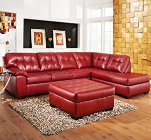 Roundhill Furniture Addiya 3-Piece Bonded Leather Sectional Sofa with Chaise and Ottoman Set, Red