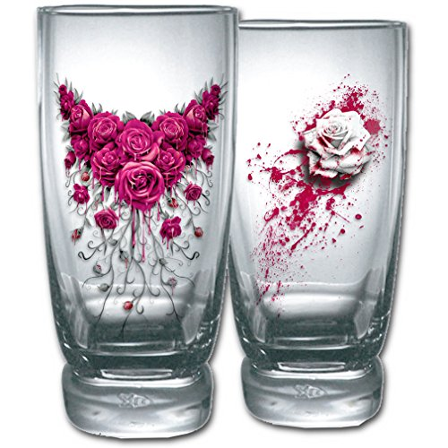 Spiral gotico bicchieri Set sangue fine Rose - Blood Rose Water Glasses Set of 2