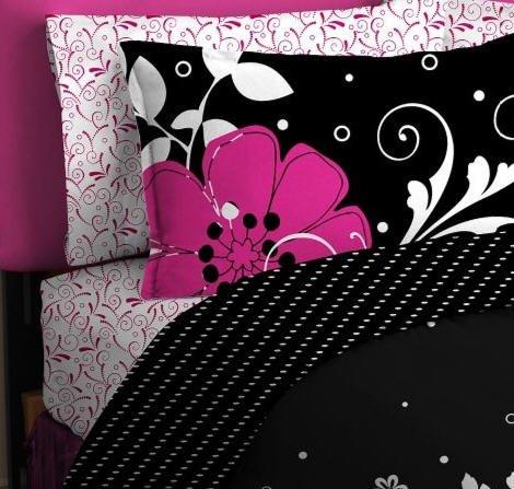 Best pink black white girls flowered twin comforter sheet - Black white pink comforter ...