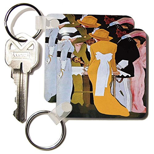 Kc_181029_1 Florene - Art Deco And Art Nouveau - Image Of Ladies And Gentleman With A Bottle Of Alcohol On This Poster - Key Chains - Set Of 2 Key Chains front-1048928