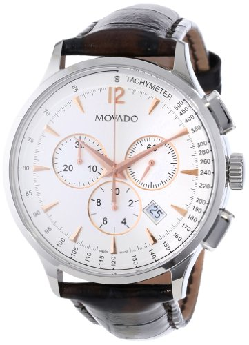 Movado Men's 0606576 Circa Brown Crocodile-Embossed Leather Strap Watch