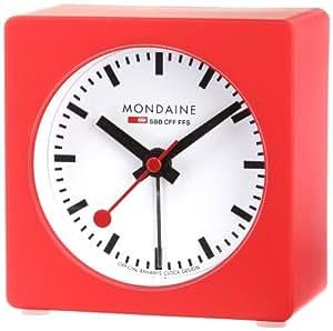 Mondaine red alarm clock with led light watches - Mondaine travel clock ...